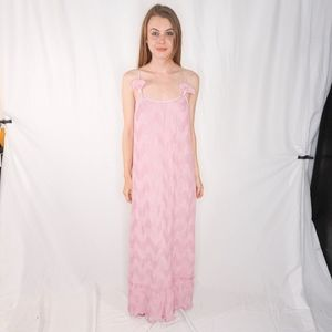 Mary McFadden Collection Pink Plisse Maxi Dress 49